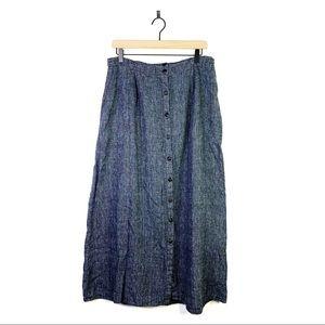 FLAX Linen Button Maxi Pocket Skirt Size Large